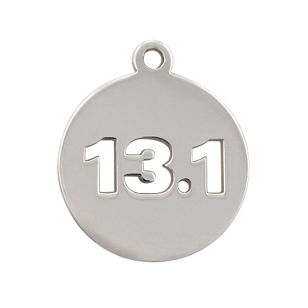 13.1 Mile Half Marathon Charm 17mm Sterling Silver (1-Pc)