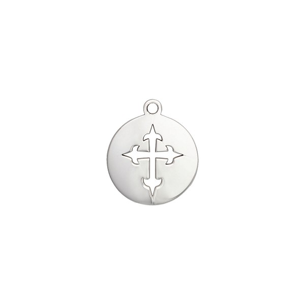 Cross Charm 19.5x16.5mm Sterling Silver (1-Pc)