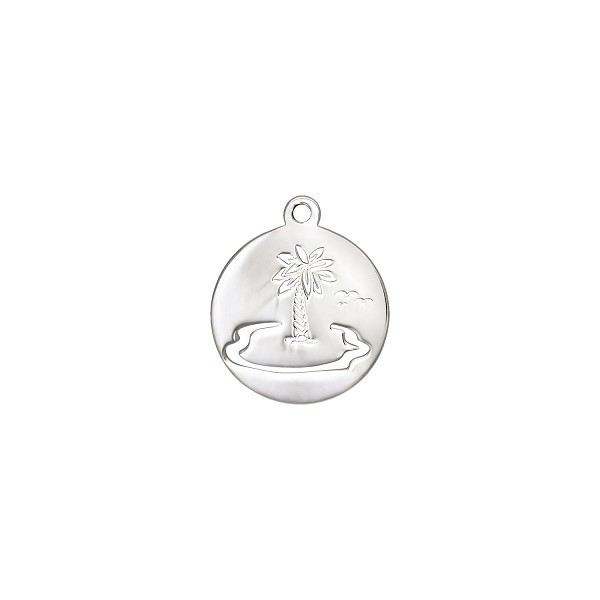 Palm Tree Charm 19.5x16.5mm Sterling Silver (1-Pc)