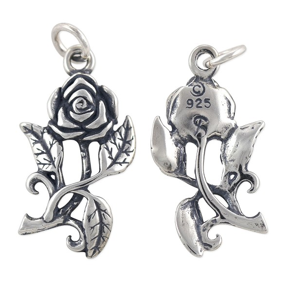 Rose Charm - 22.5x12mm Sterling Silver (1-Pc)