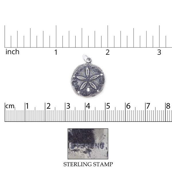 Sand Dollar Charm 20x18mm Sterling Silver (1-Pc)