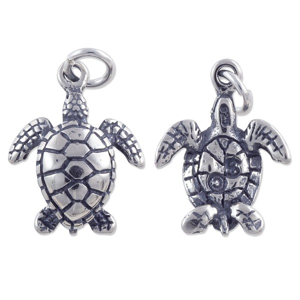 Sea Turtle Charm 17x13mm Sterling Silver (1-Pc)