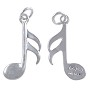 Musical Note Charm 21x12mm Sterling Silver (1-Pc)
