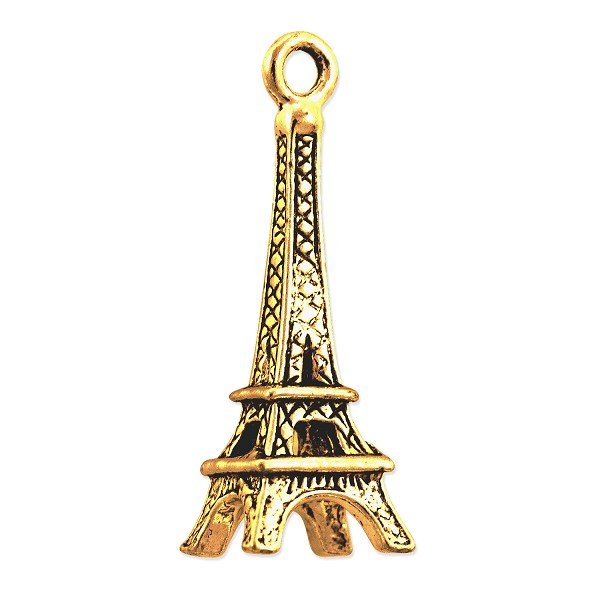 Eiffel Tower Charm 15x9mm Pewter Antique Gold Plated (1-Pc)