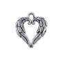 Angel Wing Heart Charm 20x18mm Pewter Antique Silver Plated (1-Pc)
