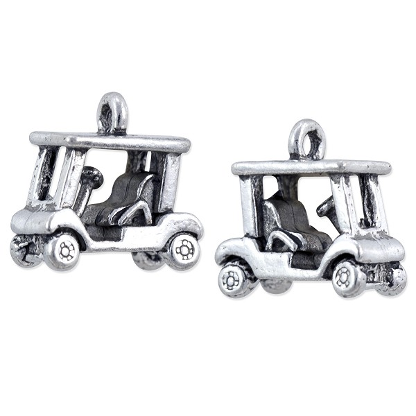 Golf Cart Charm 13x14mm Pewter Antique Silver Plated (1-Pc)