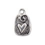Heart Tab Charm 13x10mm Pewter Antique Silver Plated (1-Pc)
