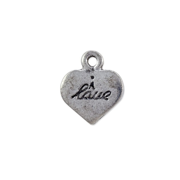 """I Love"" Charm 14x12mm Pewter Antique Silver Plated (1-Pc)"