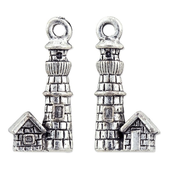 Lighthouse Charm 21x10mm Pewter Antique Silver Plated (1-Pc)