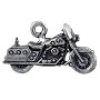 Motorcycle Charm 13x23mm Pewter Antique Silver Plated (1-Pc)