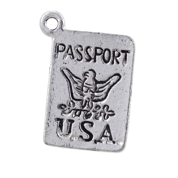 Passport Charm 17x12mm Pewter Antique Silver Plated (1-Pc)