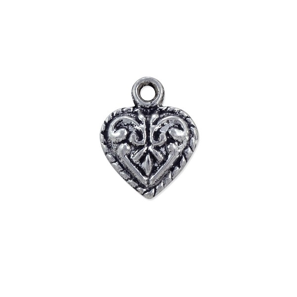 Scrollwork Heart Charm 14x11mm Pewter Antique Silver Plated (2-Pcs)