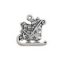 Santa's Sled Charm 17x16mm Pewter Antique Silver Plated (1-Pc)