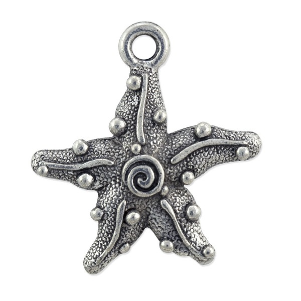 Starfish Charm 18.5x17mm Pewter Antique Silver Plated (1-Pc)