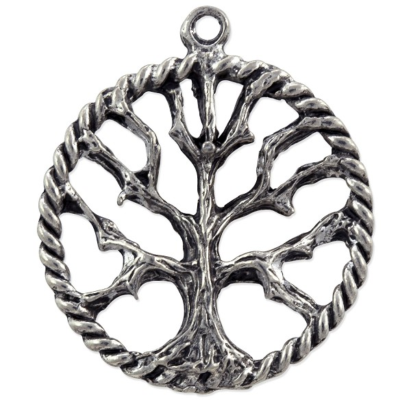 Tree of Life Pendant 25x21mm Pewter Antique Silver Plated (1-Pc)