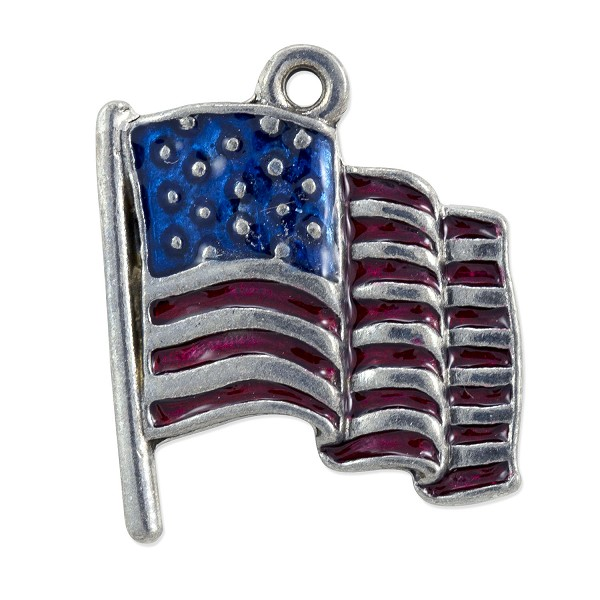 Hand Painted Patriotic USA Flag Charm 21x17mm Pewter Silver Plated (1-Pc)