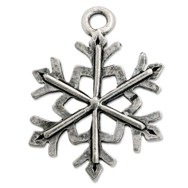 Snowflake Charm 20x16mm Pewter Antique Silver Plated (1-Pc)