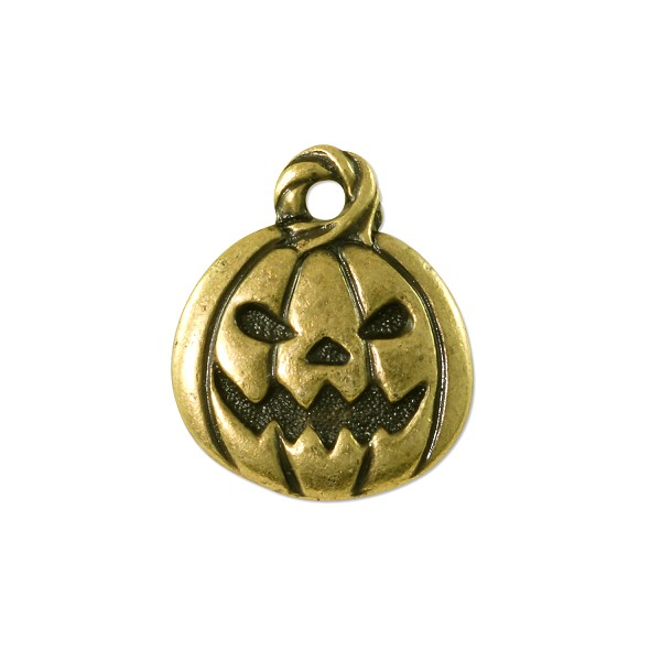 TierraCast Jack O' Latern Charm 18x15mm Pewter Antique Brass Plated (1-Pc)
