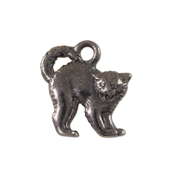 TierraCast Scary Cat Charm 18x17mm Pewter Gunmetal Plated (1-Pc)