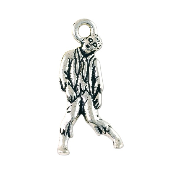 TierraCast Zombie Charm 26x12mm Pewter Antique Silver Plated (1-Pc)