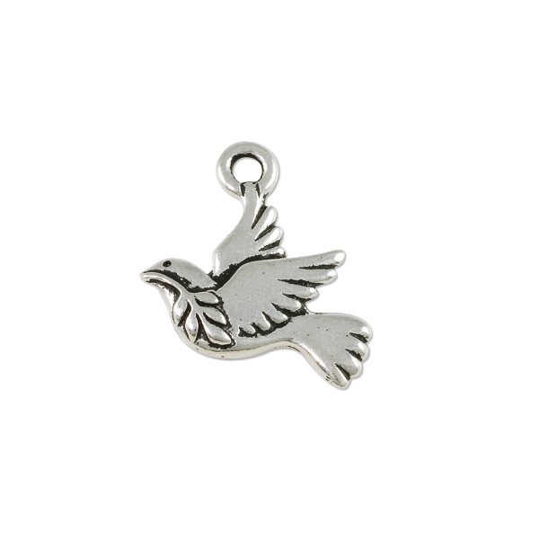 TierraCast Peace Dove Charm  21x18mm Pewter Antique Silver Plated (1-Pc)