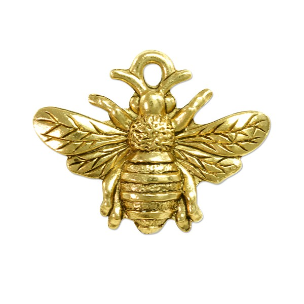 Bumblebee Charm 18x23mm Pewter Antique Gold Plated (1-Pc)