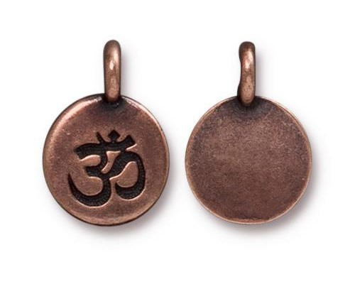 TierraCast Om Charm 11.6mm Antique Copper Plated (1-Pc)