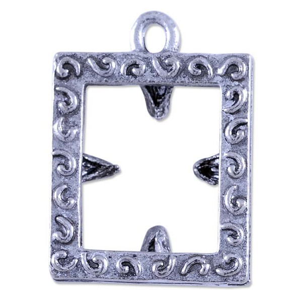 Picture Frame Charm 18x15mm Pewter Antique Silver Plated (1-Pc)