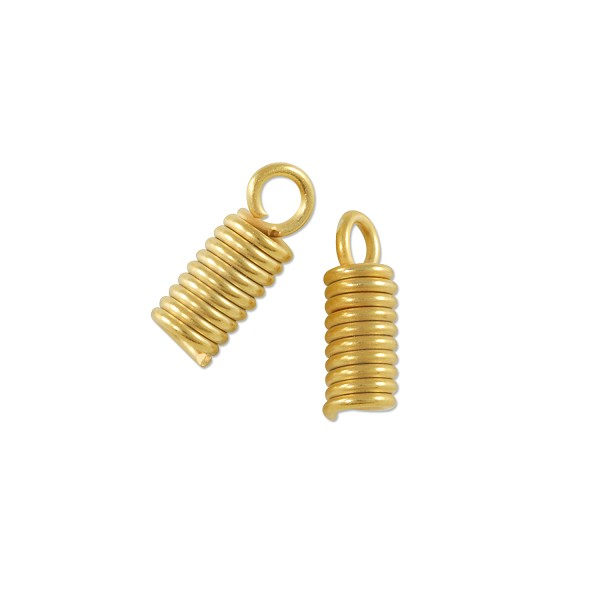 Spring Cord End 10x4mm Matte Gold Plated (10-Pcs)