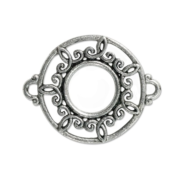 Round Filigree Connector Pewter Antique Silver Plated 26x21mm (1-Pc)