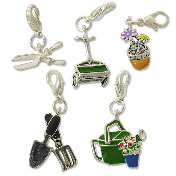 Garden Charms: Garden Charm Set With Clasp Silver Plated