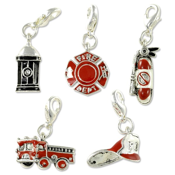 Fire Fighting Charms Set (5-Pcs) with Clasp Silver Plated