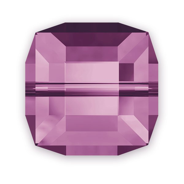 Swarovski Crystal 5601 8mm Amethyst Cube Bead (1-Pc)