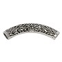 Large Hold Curved Tube Bead 50x8mm Pewter Antique Silver Plated (1-Pc)