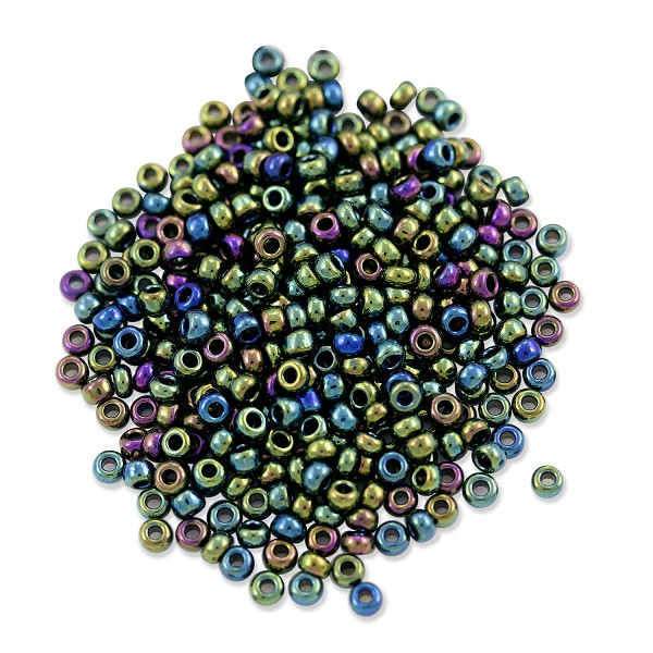 Preciosa Czech Seed Beads 8/0 Green Iris (10 Grams)