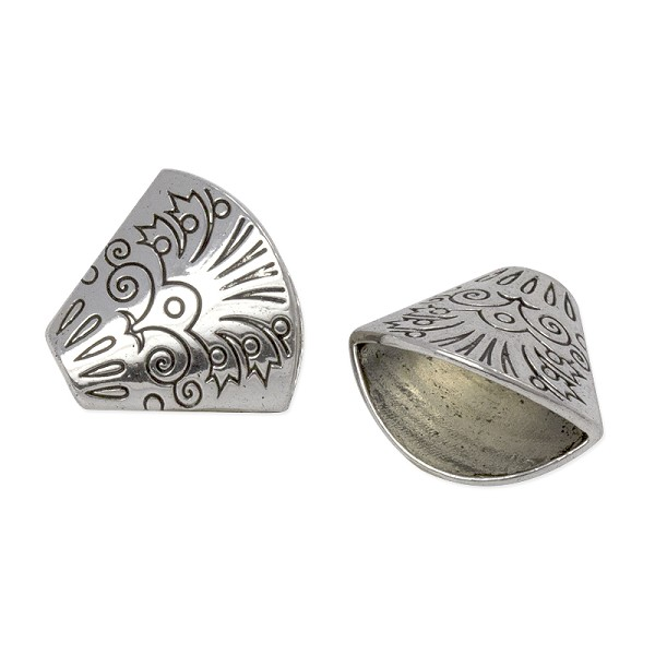 Designer Bead Cap 20x18mm Pewter Antique Silver Plated (1-Pc)