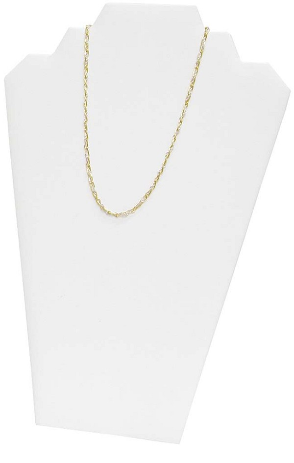 Necklace Display 2 Chains White Leatherette