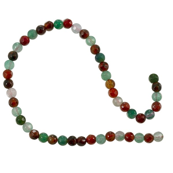 "Dyed Agate Mix Round Faceted Beads 4mm Green and Red (16"" Strand)"