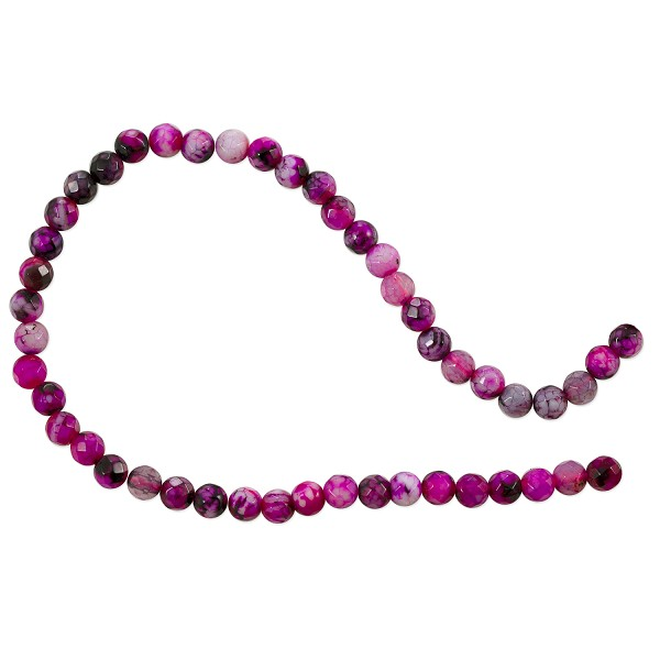 "10 Strands of Dyed Agate Mix Round Faceted Beads 4mm Pink (16"" Strand)"