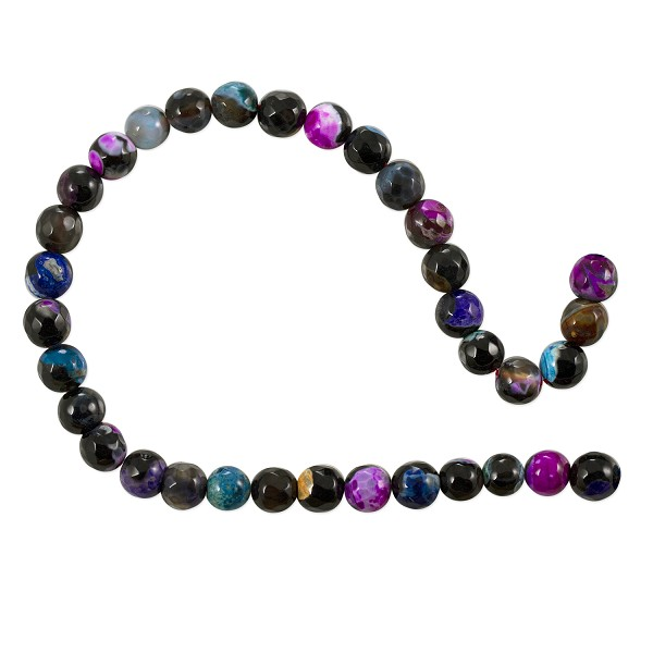 "10 Strands Dyed Agate Mix Round Faceted Beads 6mm Blue/Pink/Black (16"" Strand)"