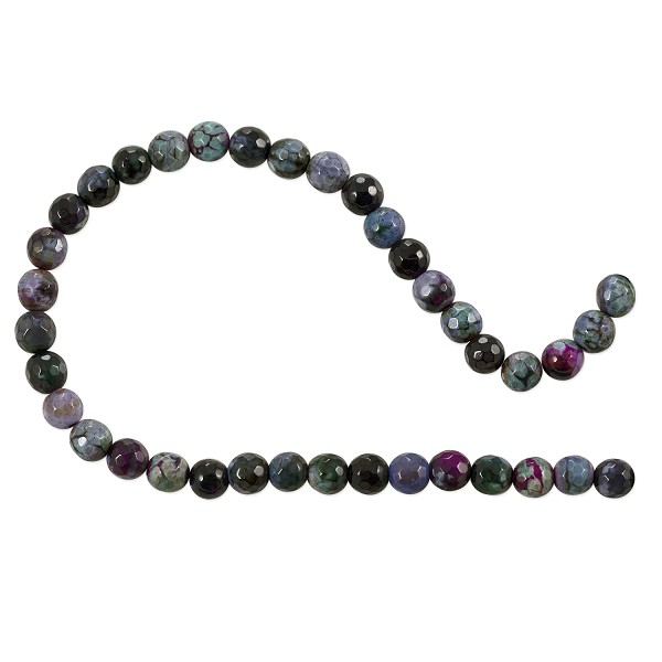 "Dyed Agate Mix Round Faceted Beads 6mm Burgundy/Lavender/Green (16"" Strand)"