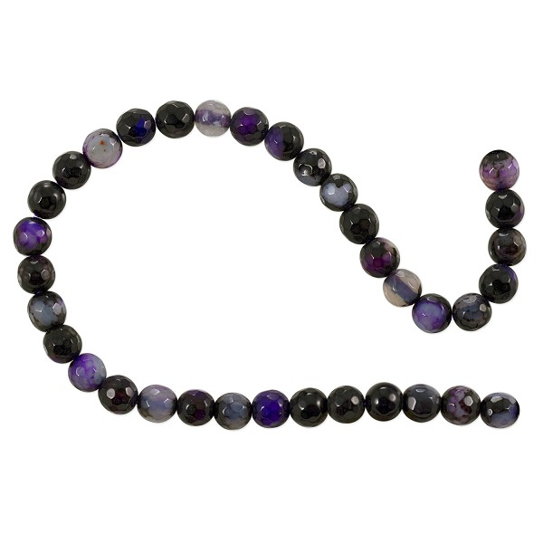 "Dyed Agate Mix Round Faceted Beads 6mm Black/Purple (16"" Strand)"
