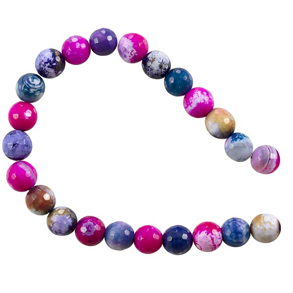 "10 Strands of Dyed Agate Mix Round Faceted Beads 8mm Pink/Tan/Blue (16"" Strand)"