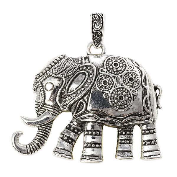 Elephant Pendant 48x57mm Pewter Antique Silver Plated (1-Pc)