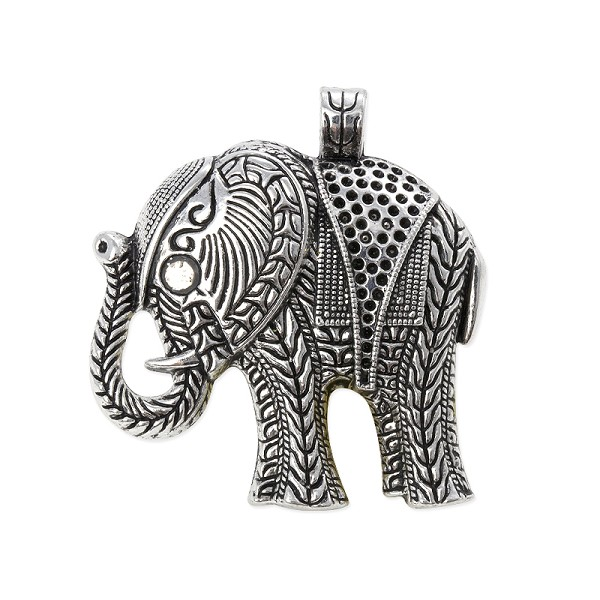 Elephant Pendant 57x53mm Pewter Antique Silver Plated (1-Pc)