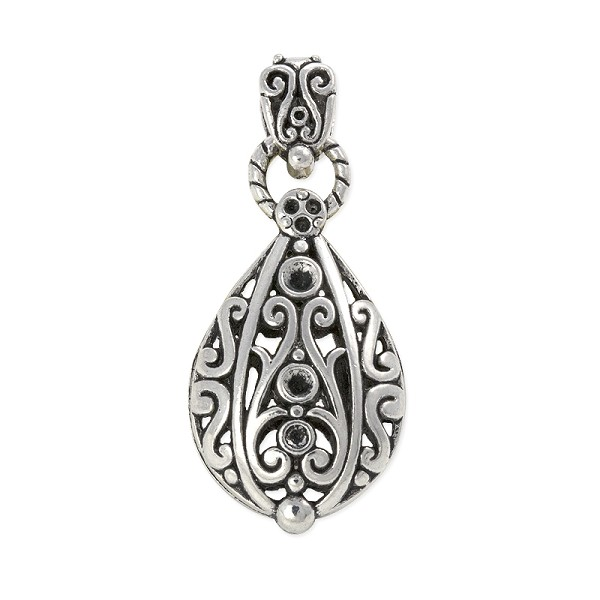 Teardrop Filigree Pendant 54x25mm Pewter Antique Silver Plated (1-Pc)