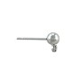 Ball Post Earring 9x6mm Silver Color (2-Pcs)