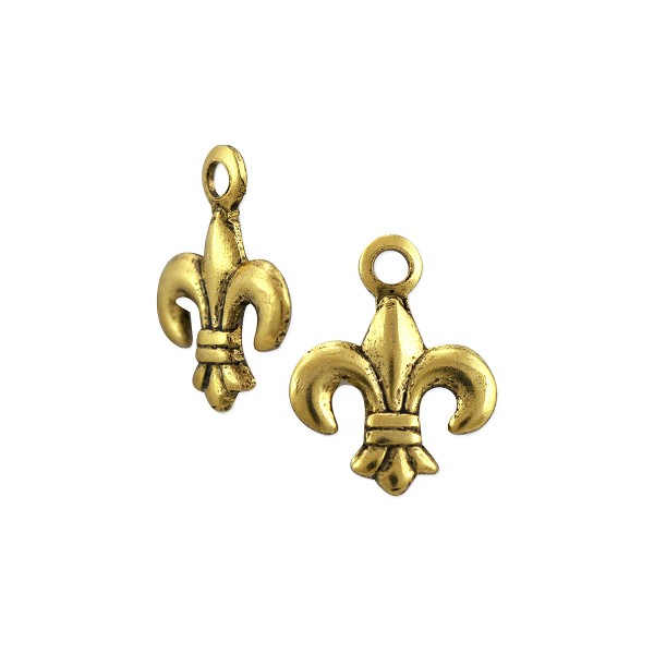 Mini Fleur de Lis Charm 10x7.5mm Antique Gold Plated (6-Pcs)