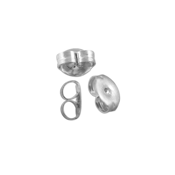 Ear Back 2.5x4mm Silver Plated (10-Pcs)