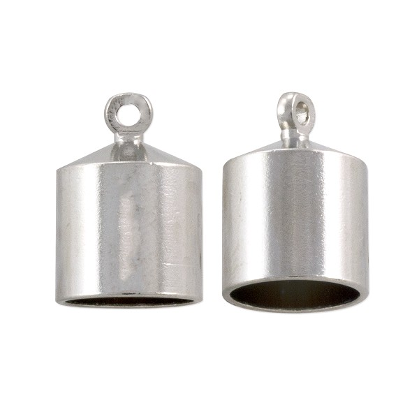 End Cap 13x9mm Silver Color (2-Pcs)